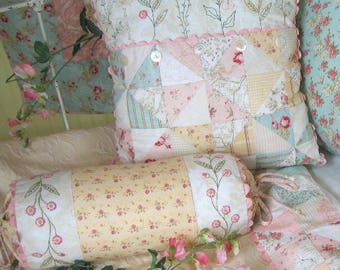 French Cottage Garden Pillows Hand Embroidery Pattern