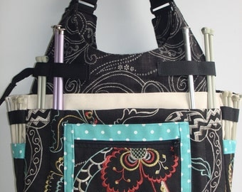 Large Knitting/Crochet Tote Bag-CALYPSO