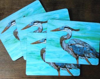 SET OF 4 Blue Heron Placemats - Heron Mosaic Art - Blue Placemats - Bird Tablemats - Bird Mats - Set of Placemats - Rustic Home Decor