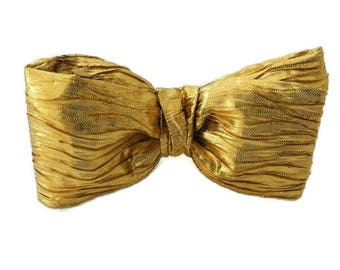 Gold Bow Tie , Mens PreTied Clip-on , Tuxedo Bowtie , Mens Neckwear , Tie , Prom Style , Wedding Accessories