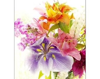 Flower Still Life Photography, Flower Wall Art, Neon Wall Decor, Purple Iris Print,  Pink Lily Photo, Orange Daylily Photograph