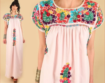 ViNtAgE Oaxacan Mexican Dress 60's 70's Floral Maxi Pink Cotton Handmade Artisan Hippie BoHo Festival Wedding M  L Medium Large