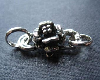 Clasp Solid Sterling Silver flower s hook and eye  - oxidized