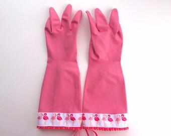 Designer Dish Gloves - Pink Flamingo - Size Medium