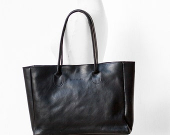 Black Leather Shopper, Leather Tote, Shoulder Bag, Black Leather Bag, Leather Bag, Leather Handbag, Black Tote