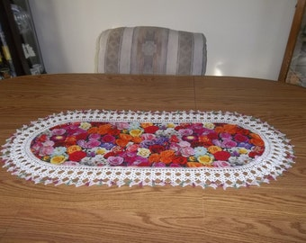 Multi Colored Roses Table Runner, Flowers, Crocheted Handmade, Home Decor Dresser Scarf, Centerpiece Lace Runner, Oval Table Topper Gift