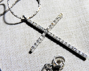 Sterling Silver Cross Cubic Zirconia on 925 18 inch Chain, Sterling Silver Necklace and Pendant