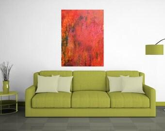 Framed Abstract Painting. Abstract Art. Original Painting. Abstract painting.  Original Art. Urban Industrial. Texture. Orange Aqua. Canvas.