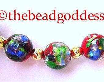5 VINTAGE JAPANESE FOIL Lampwork Beads Colorful 10mm