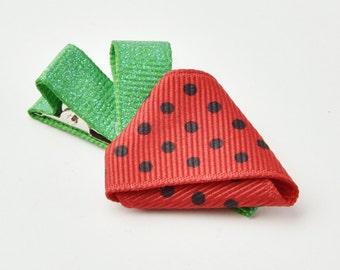 Strawberry Hair Clip, Toddler Hair Clip, Strawberry Ribbon Sculpture Hair Clip