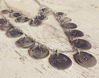 Custom Hand Stamped Personalized Family Necklace Pewter Silver