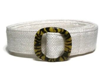 White Belt, Women's Woven Belt, Waist Belt, Winter White Cloth Belt, Off-White D-ring Belt, Wide Belt for Ladies and Plus Size Women