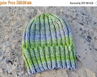May Sale - 20% off Helix Hat - Handspun Hand Knit Hat. Knitted Hat In Green and Grey. Seamless Knit Hat in Handspun Wool. Winter Accessories