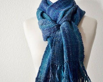 May Sale - 20% off Wool & Linen Scarf in Blues - Handwoven Scarf in Soft Merino Linen Blend Handspun Yarn. Rustic, Chic, Woodland, Forestry,