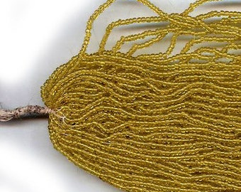 vintage micro beads tiny seed beads 1000 beads CHARLOTTE SEED BEADS muted yellow, 26 - 28 per inch embellishment