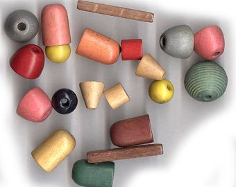 vintage wood beads, czech wood beads, a colorful selection of TWENTY BEADS, lightweight nostalgic old colors