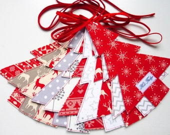 Christmas in July, Nordic Tree Garland, Scandinavian Garland, Red White & Grey
