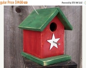 ON SALE Red and Green Birdhouse Wren Chickadee Small Songbirds White Metal Star