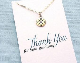 SALE - Teacher Gifts | Compass Necklace, Teacher Gifts, Mentor Gift, Compass Charm, Compass Rose, Mentor Appreciation, Mentor Teacher Gift |