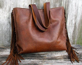 Leather Fringe Tote Bag in Rustic Brown Leather by Stacy Leigh