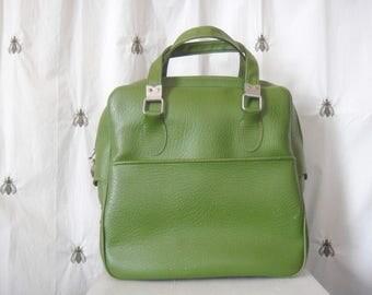 Vintage Green Sears Carry On Shoulder Bag, Luggage, Suitcase