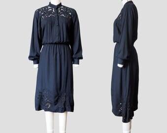 Black Cotton Cutwork Lace High Collar Shirt Dress / Midi Length
