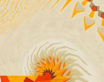 Southwest Sun New Mexico Arizona Nevada Colorful Heat Summer Orange Yellow Red Illustration Print Giclée Wall Hanging Decor Poster Fine Art