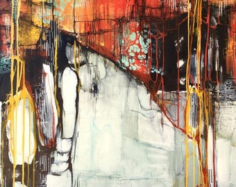 Gliclée Canvas print by Lori Mirabelli painting modern abstract painting orange red 12x12