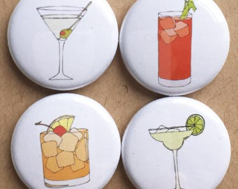 cocktail badges / set of four pins / pinback buttons / illustrated party cocktails / martini , margarita , bloody mary , old fashioned