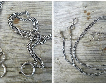 Vintage Antique French 1890/1900 parts of sterling silver chatelaine chain