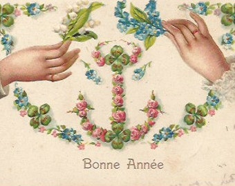 Antique 1910 French embossed postcard  Bonne annee