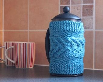 French Press Cozy Cover bodum cozy cafetiere cozy coffee pot cozy cotton silk mixed yarn ready to ship