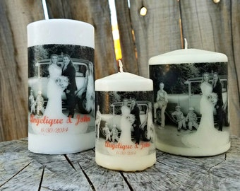 Custom Pillar Candle Set. Your Picture on 3 Candles