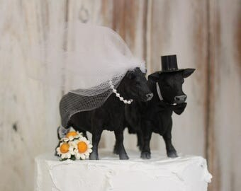 Cow Cake Topper-Black Angus Cows-Barn Wedding Cake Topper-Animal Cake Topper-Farm Couples-Bride and Groom