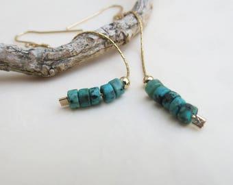 Long Dangle Turquoise Earrings Gold Earrings Turquoise Jewelry Chain Earrings Boho Style December Birthstone  Earrings