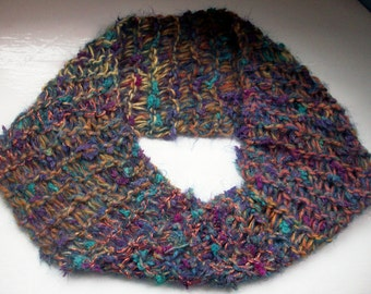 Cowl neck warmer, knitted infinity scarf, cosy warm collar, soft textured mixed fibres snood