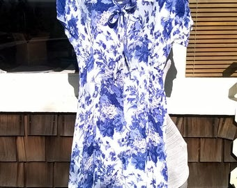80s does 30s Rayon Print Dress, sz M to L, Cobalt Roses on White, with custom decorated hat to Match, a Bluegrass Special