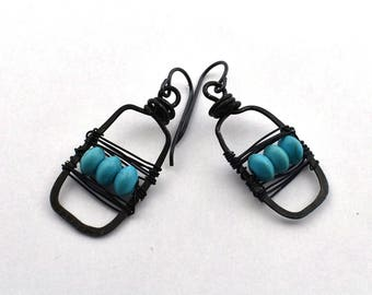 Hammered black wire wrapped with blue bead earrings