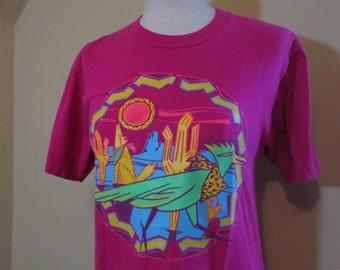 Vintage Roadrunner Tshirt Hot Pink Neon Roadrunner Desert 80s Vintage cotton T shirt Southwest tshirt  M