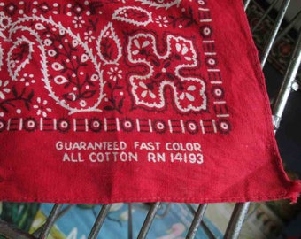 Vintage Red paisley bandana fast color 60s Vintage Red Bandana square cross designs 100% cotton 60s Bandana red Kerchief