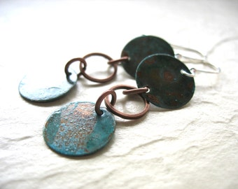 Copper Earrings, Handmade Hammered Oxidized Copper Dangle Drop Earrings, Copper Jewelry, luminous creation