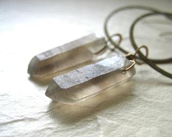 Smoky Quartz Crystal Point  Antiqued Brass Infinity Hoop Chandelier Dangle Drop Earrings, Handmade Artisan Gemstone Earrings