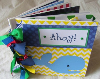mini premade SCRAPBOOK album -- baby boy -- PaPeR BaG premade - AhoY ~ It's a Boy! ~ nautical theme
