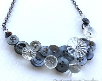 Gray Sparkle Vintage Button Statement Necklace