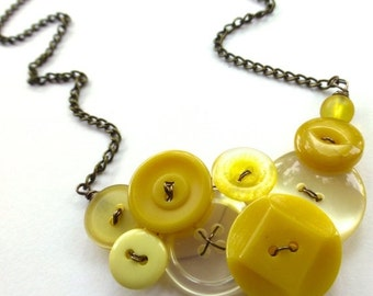 On Sale Lovely Pale and Mustard Yellow Vintage Button Statement Necklace