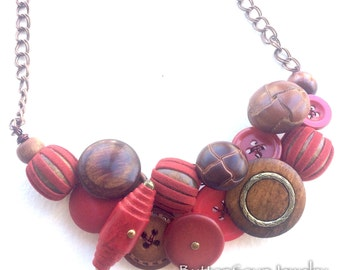 Chunky Textural Necklace with Red, Brown, and Wooden Buttons