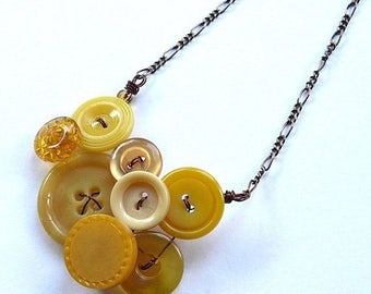 Spring Sale Small Honey Gold and Mustard Yellow Vintage Button Necklace