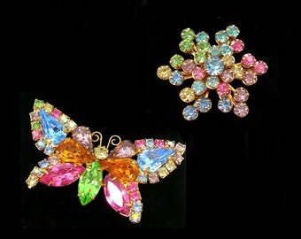 2 Pastel Rhinestones Brooches, Butterfly & Flower, Sparkling Springtime Jewelry, Vintage 1960s, Mixed Pastels Prongset Stones, Insect Pin