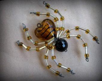 Glass Heart Christmas Spider Ornament Sun catcher