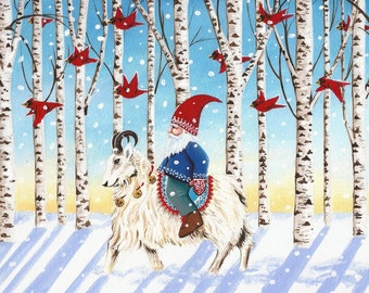 Winter Tomte Set of 10 Holiday Cards/Prints, Hand Signed by Carolee Clark, King of Mice Studios